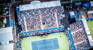 Aerial shot from drone of BB&T Atlanta Open center court