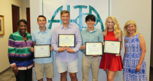 ALTA President Joyce Vance, far left, and ALTA Foundation President Linda Shepherd, far right, honored this year's scholarship winners. They are Brandon Banke, Neal Seymour, Cameron Raj and Rebekah Bobo, from left.