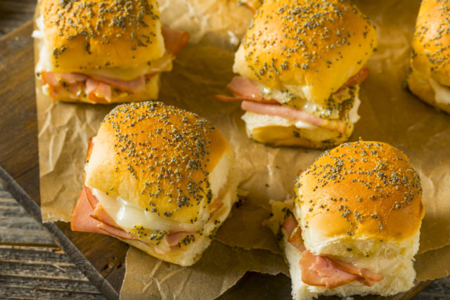Hawaiian Ham and Cheese Buns with Mayo and Poppy Seeds