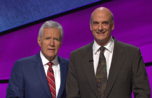Alan Dunn, 5-time Jeopardy champion, with Alex Trebek.