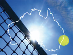 Outline of Australia transposed onto tennis net