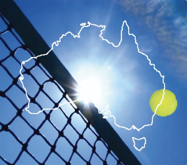 Outline of Australia transposed onto tennis net