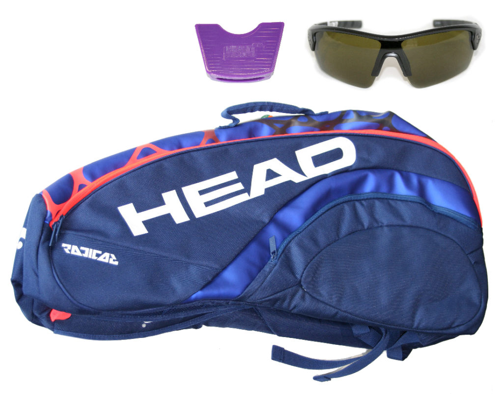 Trivia contest prize pack consisting of a tennis bag, racquet weight, and sunglasses.