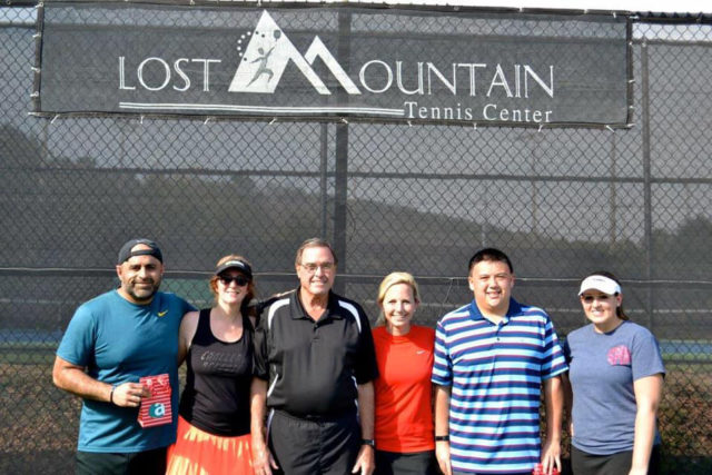 Lost Mountain Tennis Tournament winners and supporters, including Bob Boulware, Stacey's father, pictured third from the left.