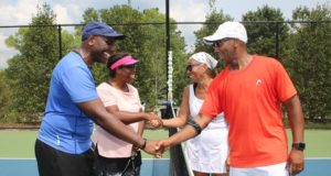 Good Sportsmanship, ALTA League mixed doubles teams shaking hands.