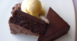 brownie pie slices with ice cream