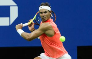 NEW YORK, NY - AUGUST 31: Rafael Nadal of Spain in action against Karan Khachanov of Russia in the third round of the US Open at the USTA Billie Jean King National Tennis Centre on August 31, 2018 in New York City, United States. (Photo by TPN/Getty Images)
