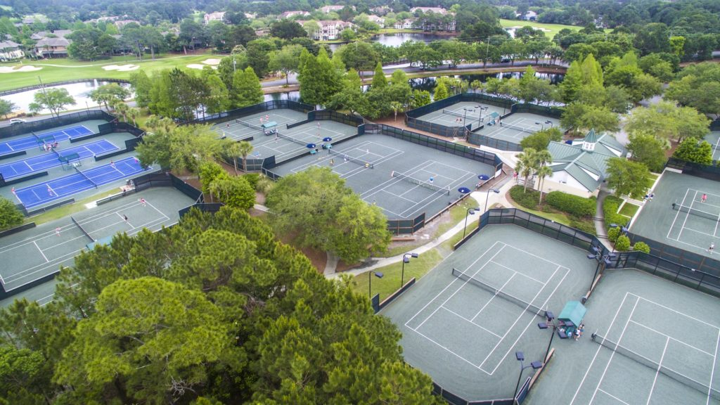 Aerial shot of tennis courts at Sandestin Golf and Beach Resort