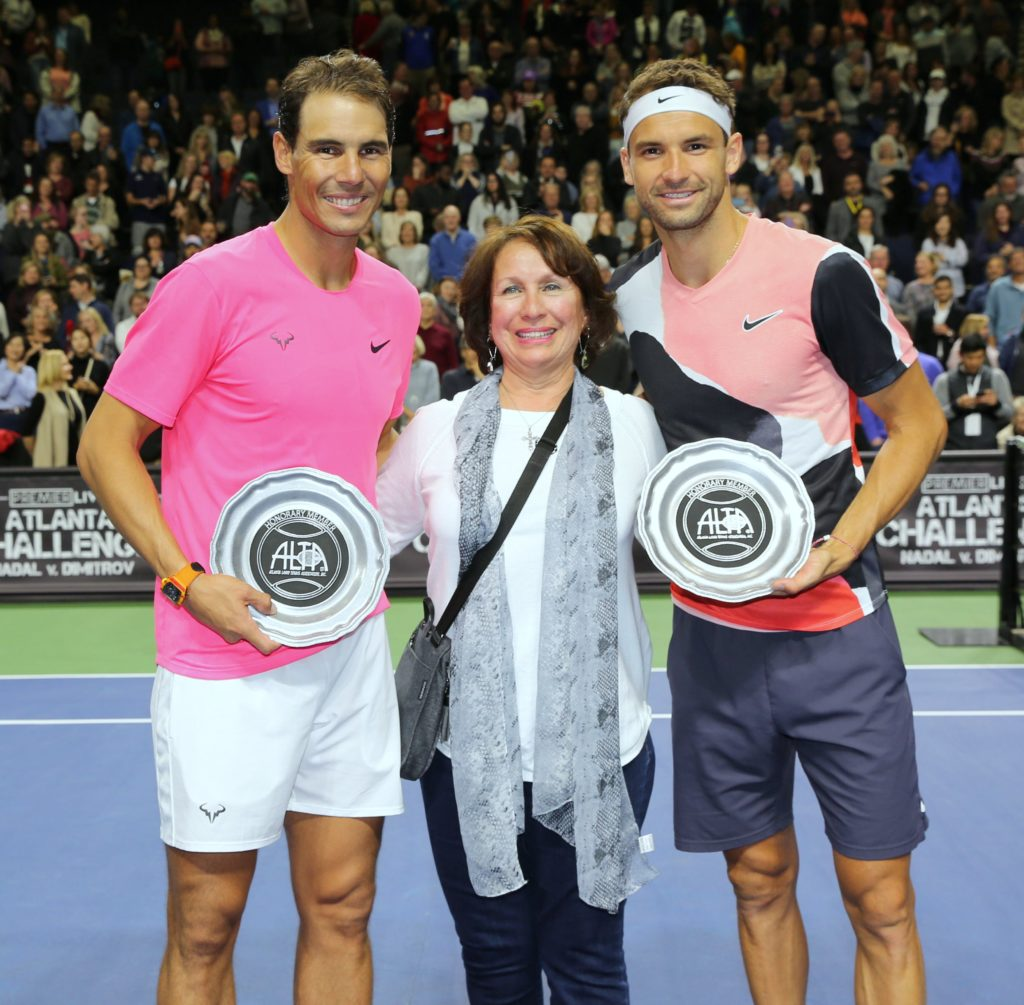 Lucky ALTA Drawing Winner Gina Trujillo with Nadal and Dimitrov