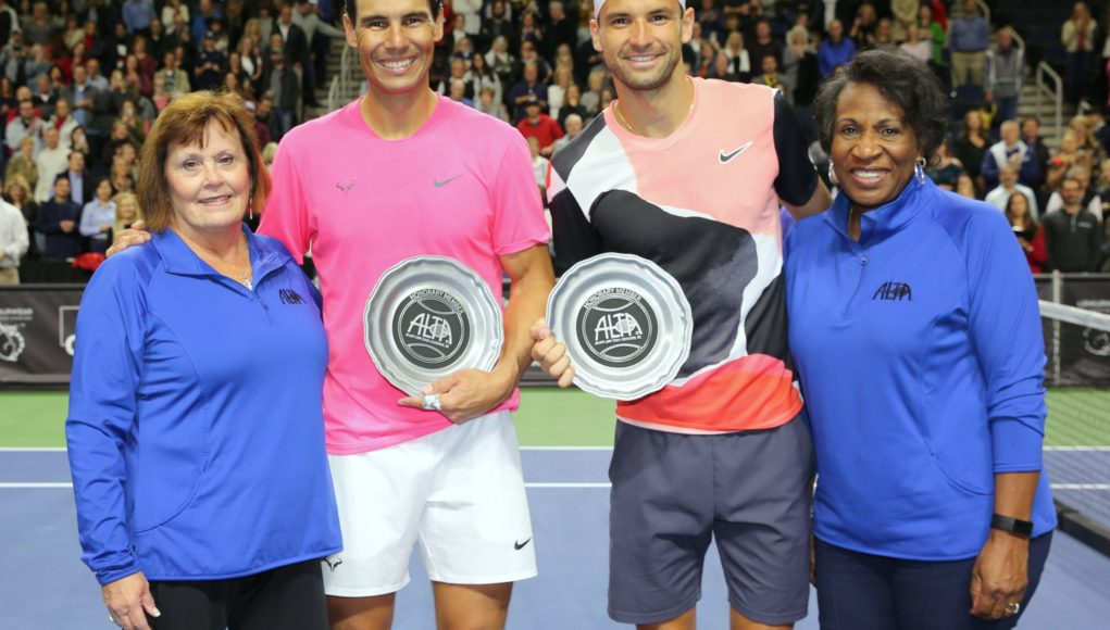 Nadal and Dimitrov with ALTA President Sandy Depa (left) and former ALTA President Joyce Vance.