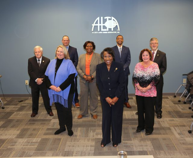 Pictured left to right: Larry Waters, Debbie Gaster, Bill Price, Chequetta Allen, Joyce Vance, Lamar Scott, Sandy Depa, and John Lowell. (not pictured: Diana Burger)
